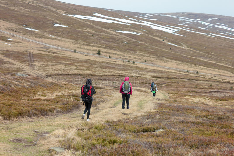 De toeristen beklimmen tot de bovenkant van de berg van Runa in de Karpaten royalty-vrije stock foto