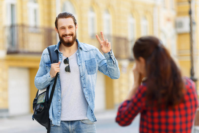 De toeristen die van Nice foto's maken royalty-vrije stock foto