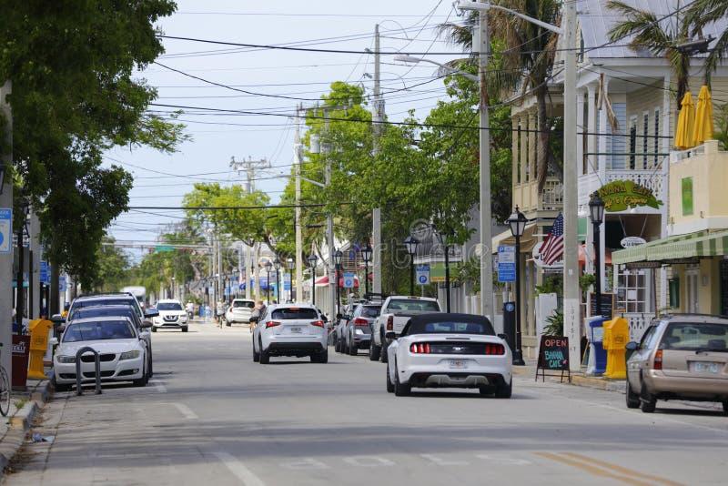 De toeristen keren naar Key West na Orkaan Irma terug stock afbeelding
