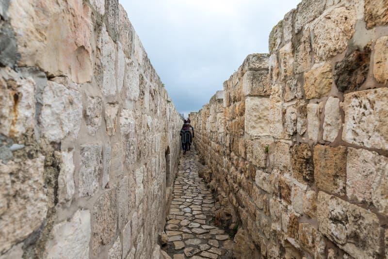 De toeristen lopen op de stadsmuur en inspecteren het dichtbij de Jaffa-Poort in oude stad van Jeruzalem, Israël royalty-vrije stock foto