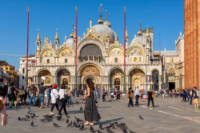 De toeristen lopen rond de Basiliek Di San Marco in Venetië stock afbeelding