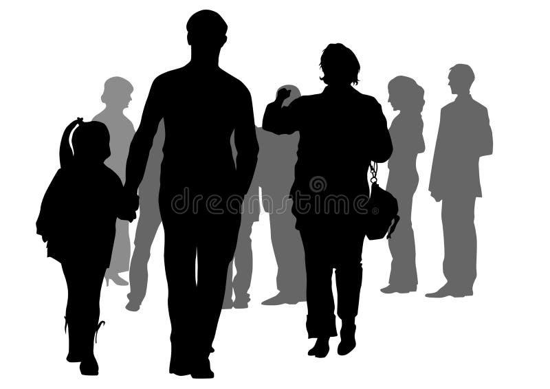 De toeristen van groepen royalty-vrije illustratie