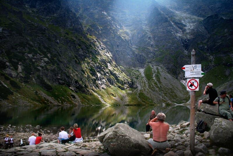 De toeristensleep van Tatrabergen stock fotografie