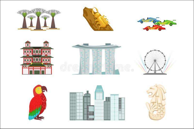 De Toeristische Geplaatste Symbolen van Singapore vector illustratie