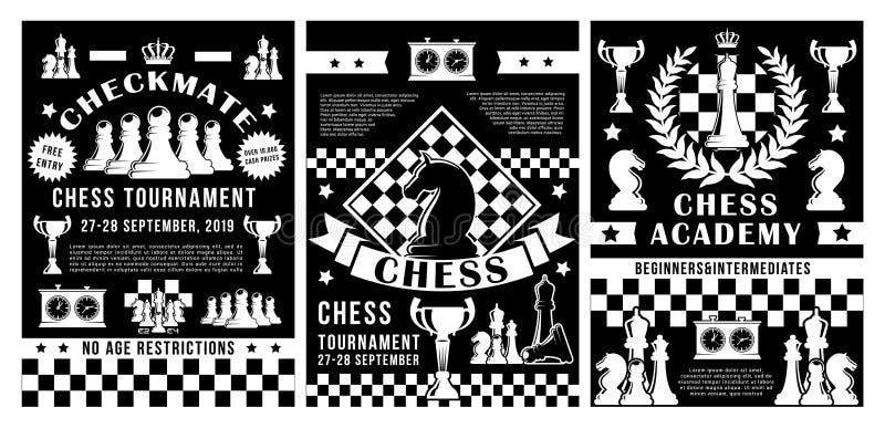 De toernooien van de schaakacademie, het kampioenschap van de sportclub stock illustratie