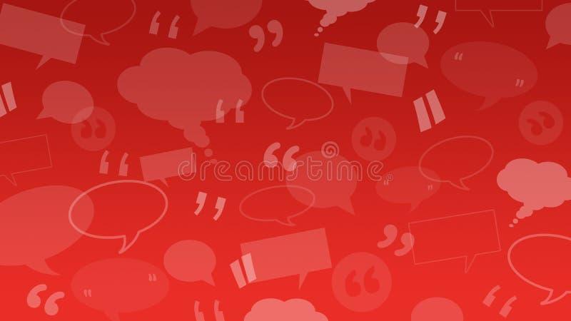De toespraak en de gedachte borrelen met citaattekens geschikt als achtergrondillustratie voor cliënt/klantenhuldeblijken vector illustratie