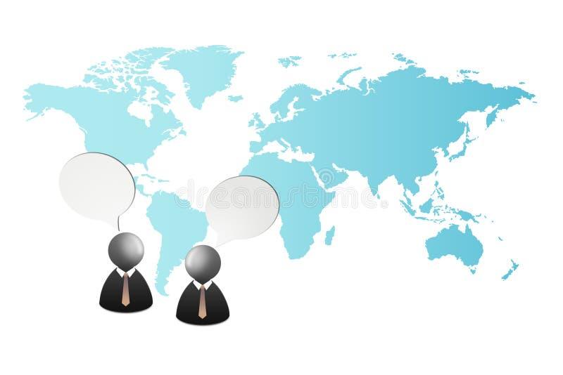 De toespraak van het twee zakenmanpictogram en het spreken samen met wereldkaart op de achtergrond royalty-vrije stock afbeeldingen