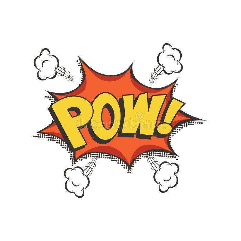 De toespraakbel van de Pow grappige tekst Het vector geïsoleerde correcte effect pictogram van de rookwolkwolk stock illustratie