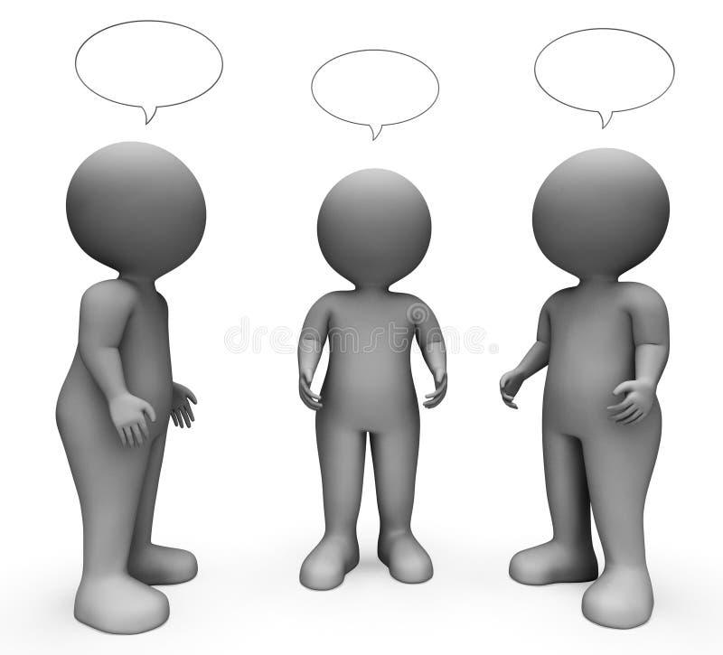 De toespraakbel wijst Exemplaar op Ruimte en Karakters het 3d Teruggeven vector illustratie