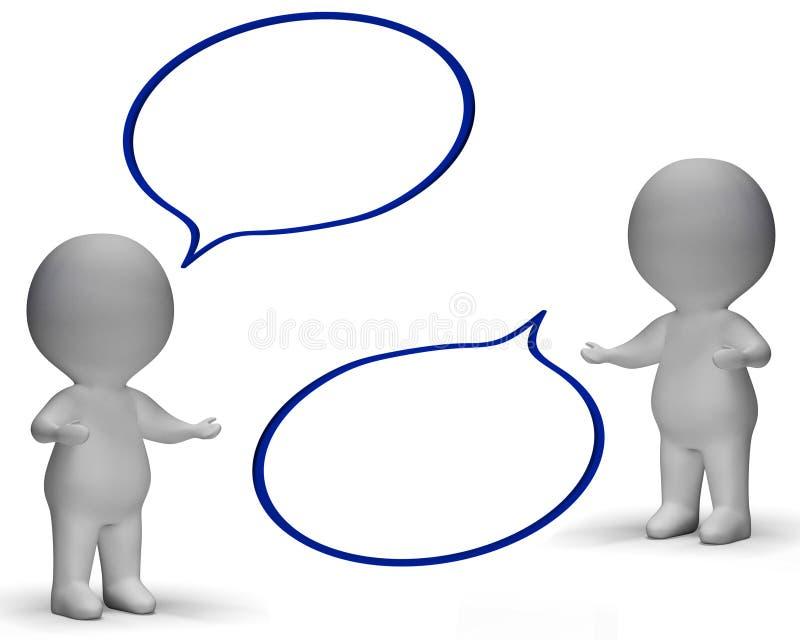 De toespraakbellen en 3d Karakters tonen Bespreking en Roddel royalty-vrije illustratie