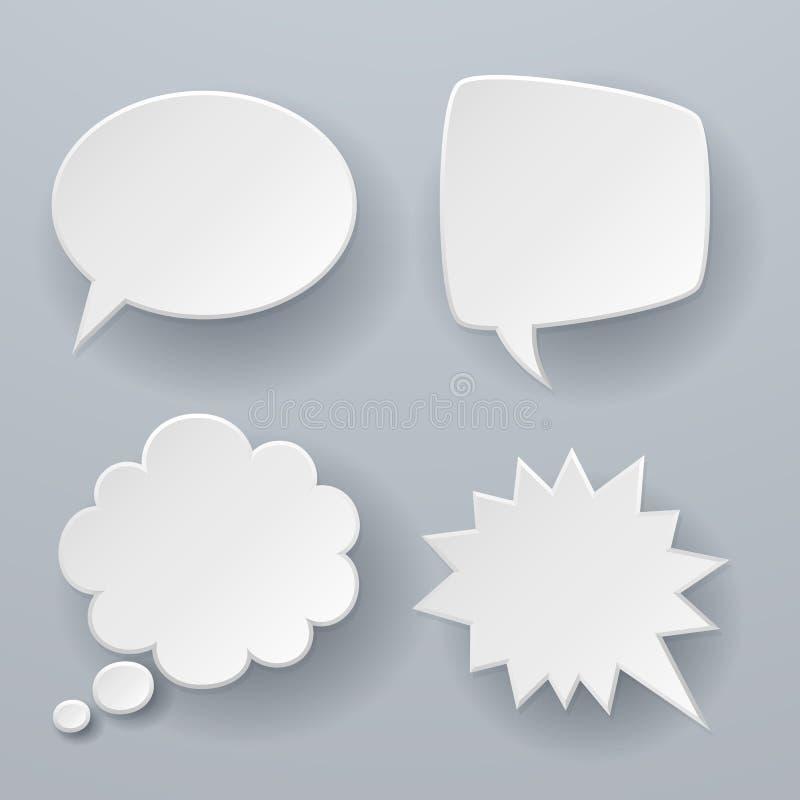 De toespraakbellen van het document Wit origami 3d retro wolken gedacht praatje of de ballon vectorconcept van het dialoogsms-ber vector illustratie