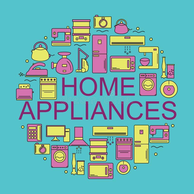 De toestellen van het huis Pictogrammen van huistoestellen in een cirkel worden geplaatst die stock illustratie
