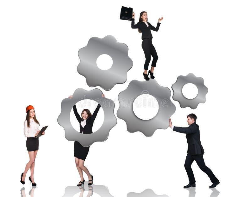 De toestellen van zakenmanduwen, vrouw hangt op hen stock illustratie