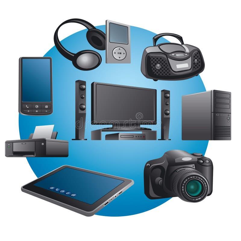 De toestellenpictogrammen van de elektronika stock illustratie