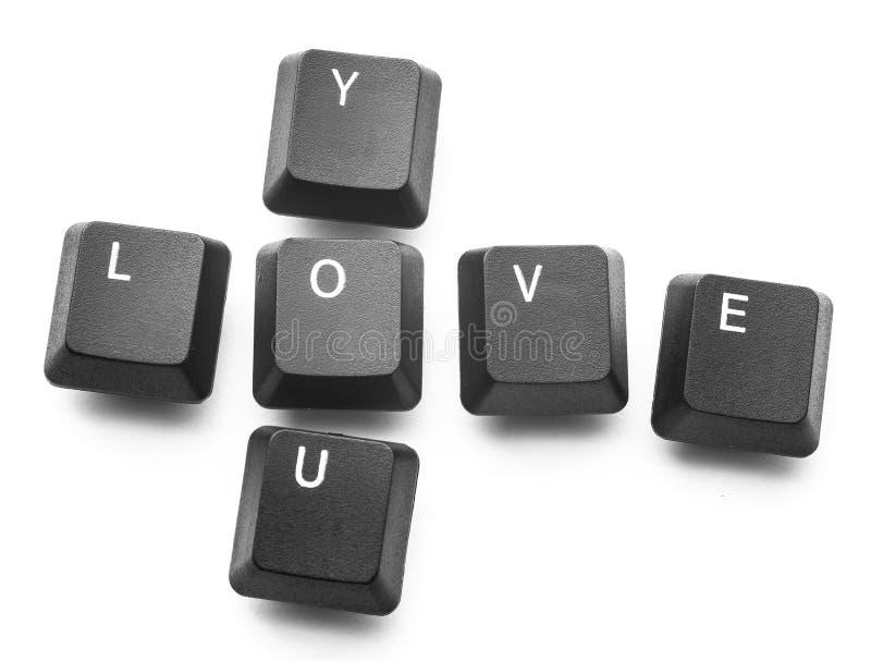 De toetsenbordknopen schrijven 'liefde u ' Isoleer op witte achtergrond royalty-vrije stock foto's