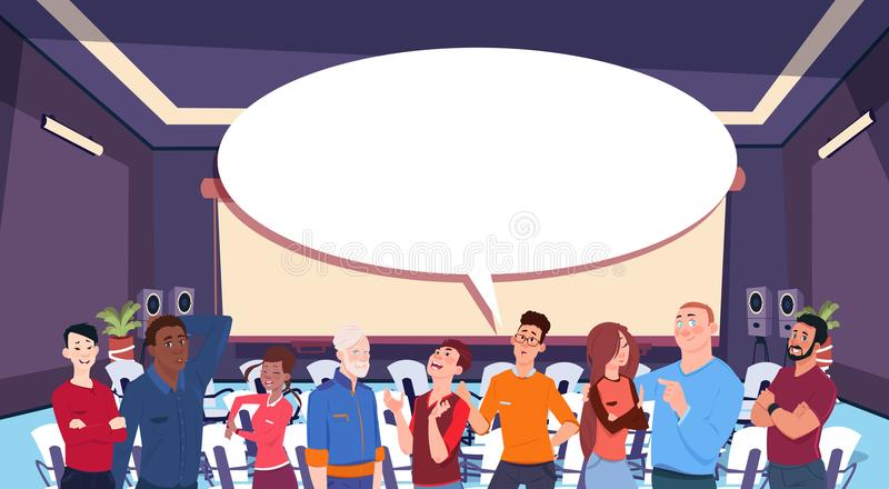 De toevallige mensen groeperen praatje communicatie bel, zakenlui die communicatie sociale netwerkvlakte bespreken stock illustratie