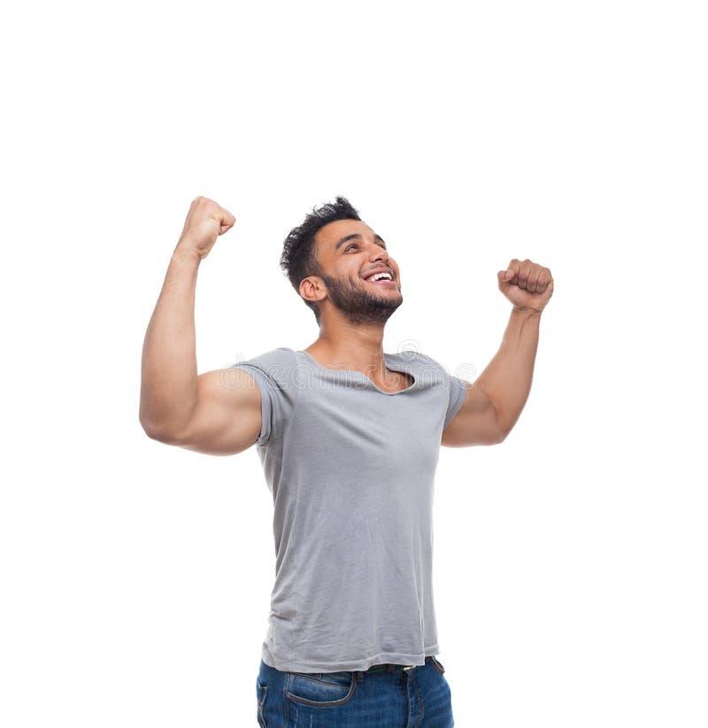 De toevallige Opgewekte Mens kijkt omhoog Gelukkige Glimlach stock fotografie