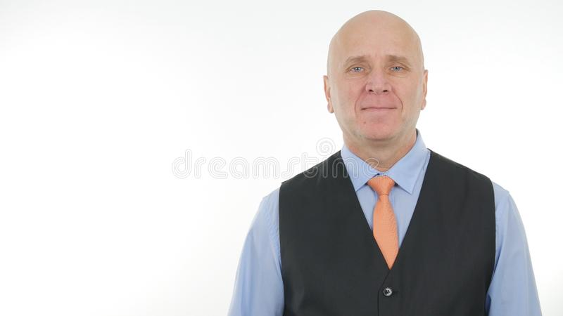 De toevertrouwende Manager Presentation van Zakenmanimage smiling pleased stock foto