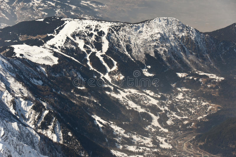 De toevlucht Les Houches van de ski stock foto's