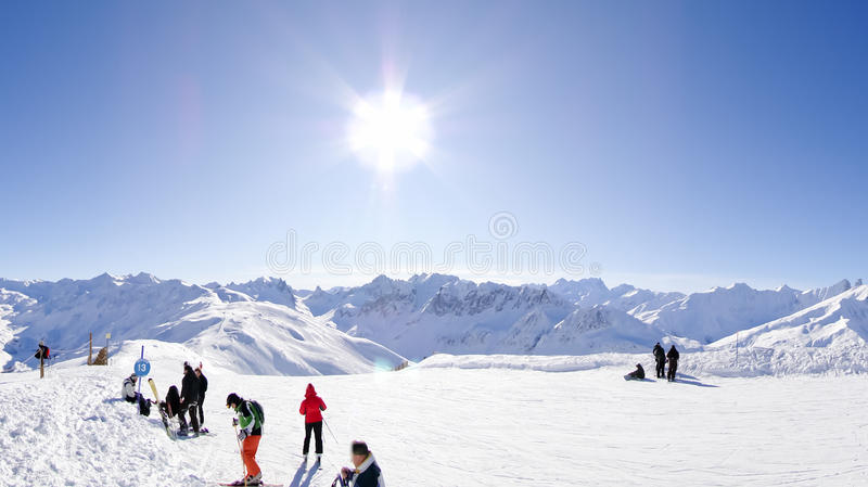 De toevlucht van de ski in Valloire, Frankrijk royalty-vrije stock foto
