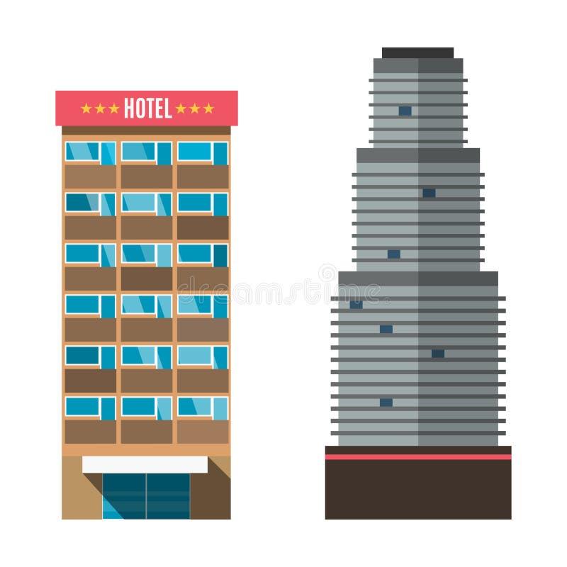 De toevlucht van de van de bedrijfs hotelbediening op de kamer de architectuur vectorillustratie vakantieflat vector illustratie