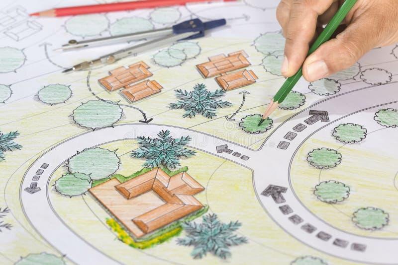 De Toevlucht van Designs Blueprints For van de landschapsarchitect royalty-vrije stock fotografie