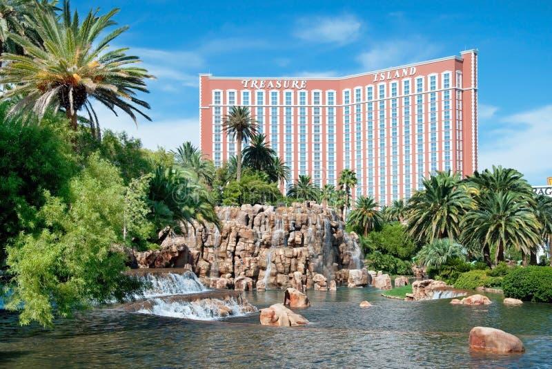 De Toevlucht van het het Casinohotel van het schateiland op de Strook van Las Vegas in Ne royalty-vrije stock afbeeldingen