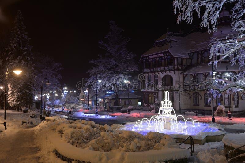 De toevlucht van Swieradowzdroj, Polen, 13 December, 2018: Verlichte fontein in het park van het stadscentrum in de winternacht,  stock foto