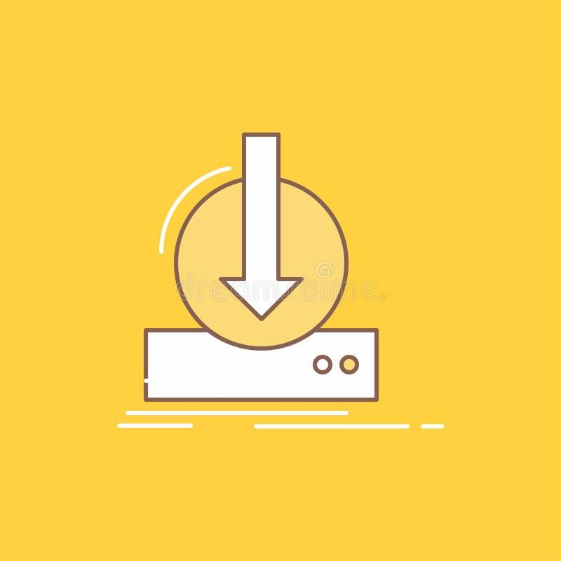 De toevoeging, inhoud, dlc, download, spel Vlakke Lijn vulde Pictogram Mooie Embleemknoop over gele achtergrond voor UI en UX, we stock illustratie