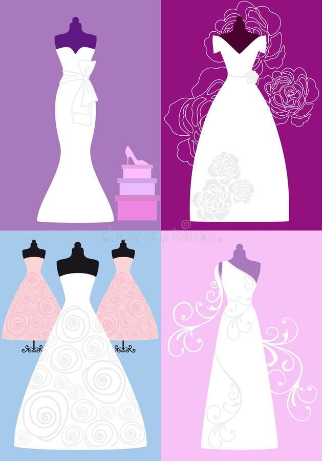 De kleding van het huwelijk, bruids toga's, vector royalty-vrije illustratie