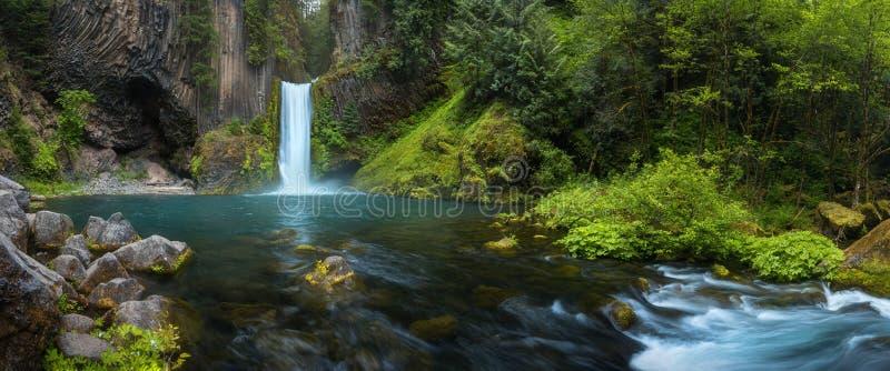 De Toketeedalingen is een waterval in Douglas County, Oregon, Verenigde Staten, op de Rivier van het Noordenumpqua stock afbeeldingen