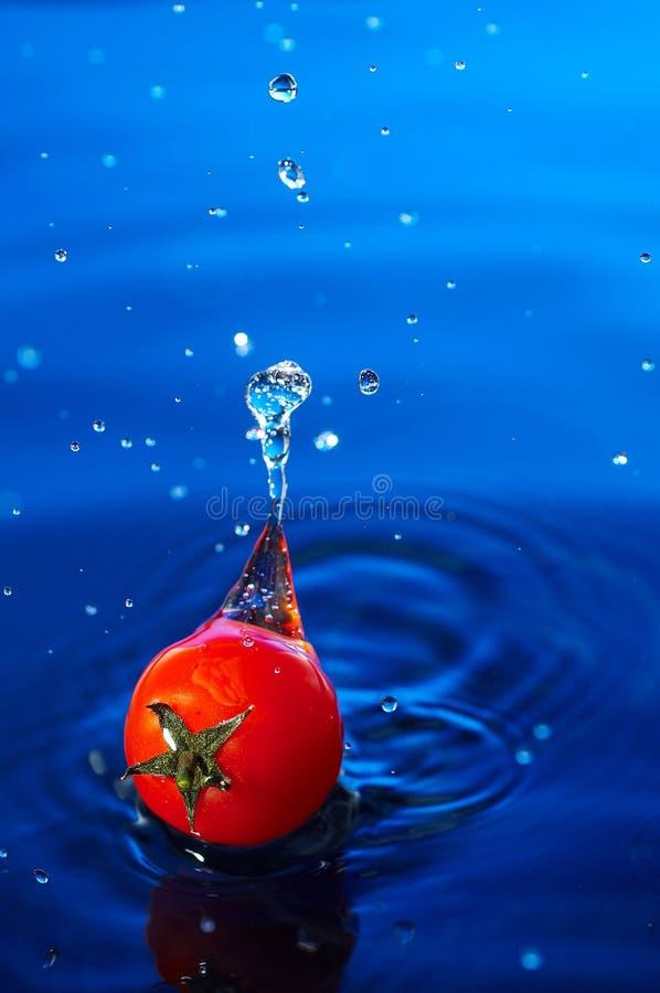 De tomaat van de kers in water1 stock foto's