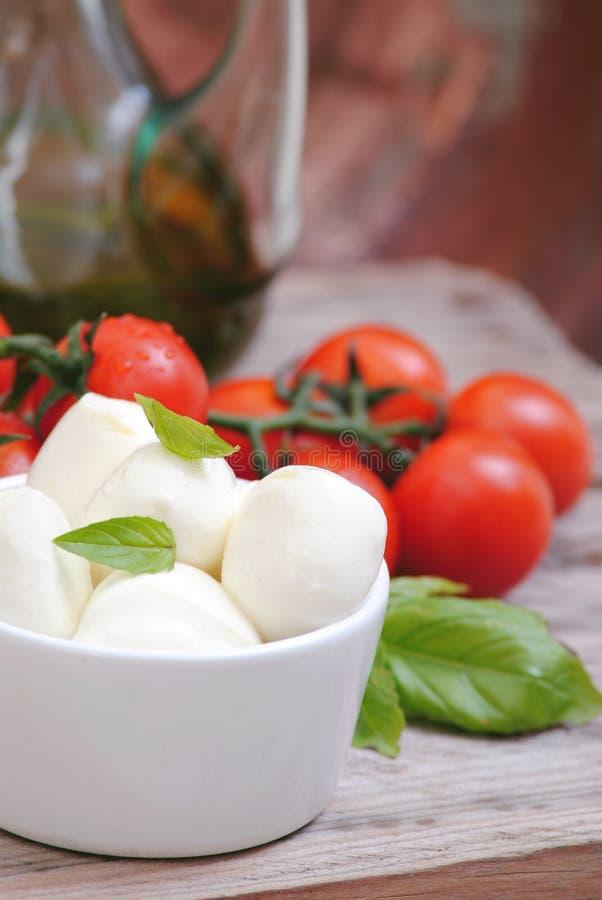De tomaten en het basilicum van de mozarella stock foto's