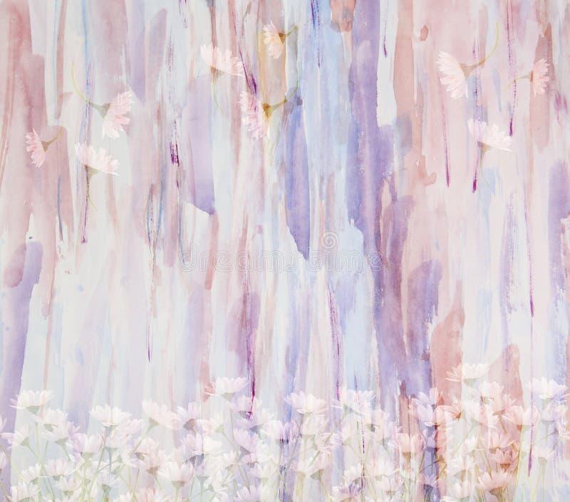 De toneelwaterverf bloemenachtergrond met boeket van madeliefjes, stock illustratie