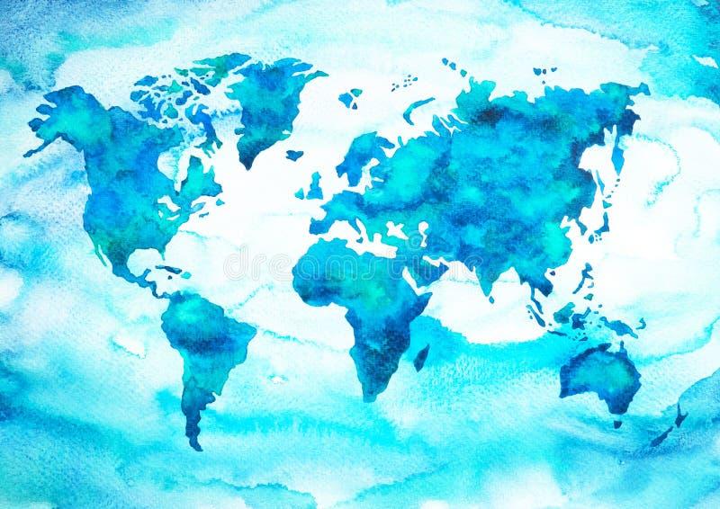 De toonwaterverf van de wereldkaart het blauwgroene schilderen op document handtekening vector illustratie