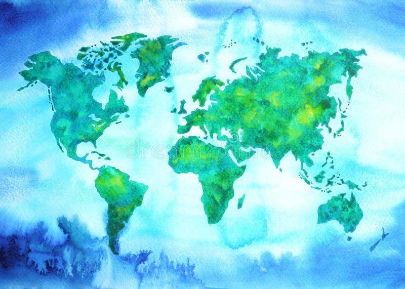 De toonwaterverf van de wereldkaart het blauwgroene schilderen op document handtekening royalty-vrije illustratie