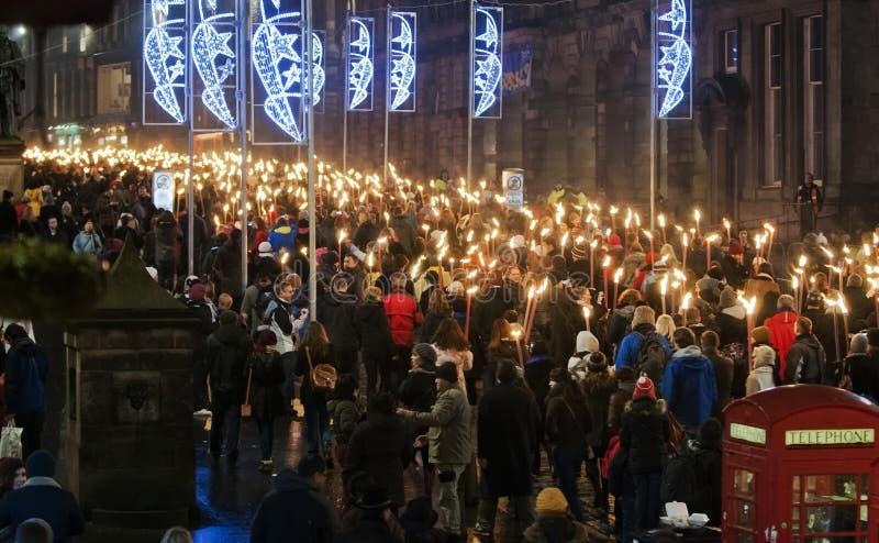 De toortsoptocht van Edinburgh stock foto