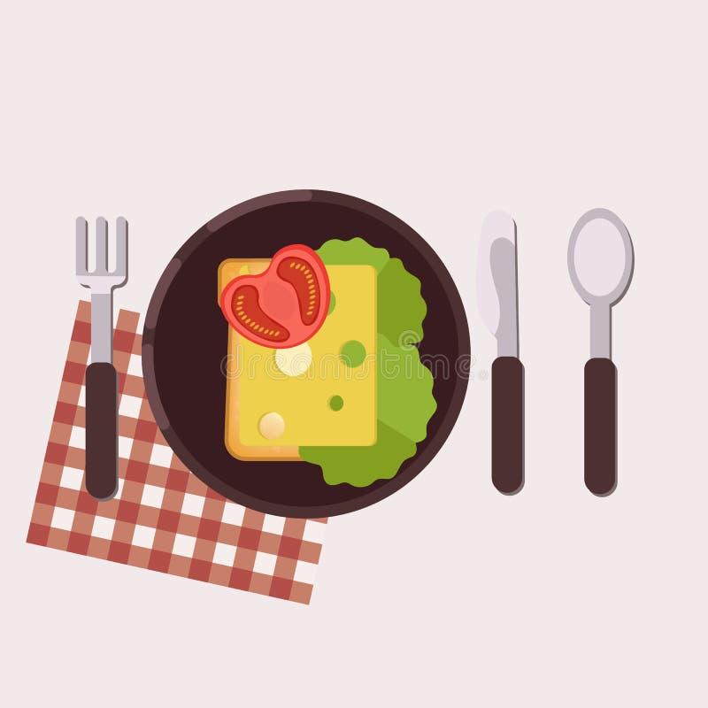 De toost met kaas, boter, tomaat en groene salade diende op een plaat met vork, mes, lepel en servet Gezond voedsel Vector vector illustratie