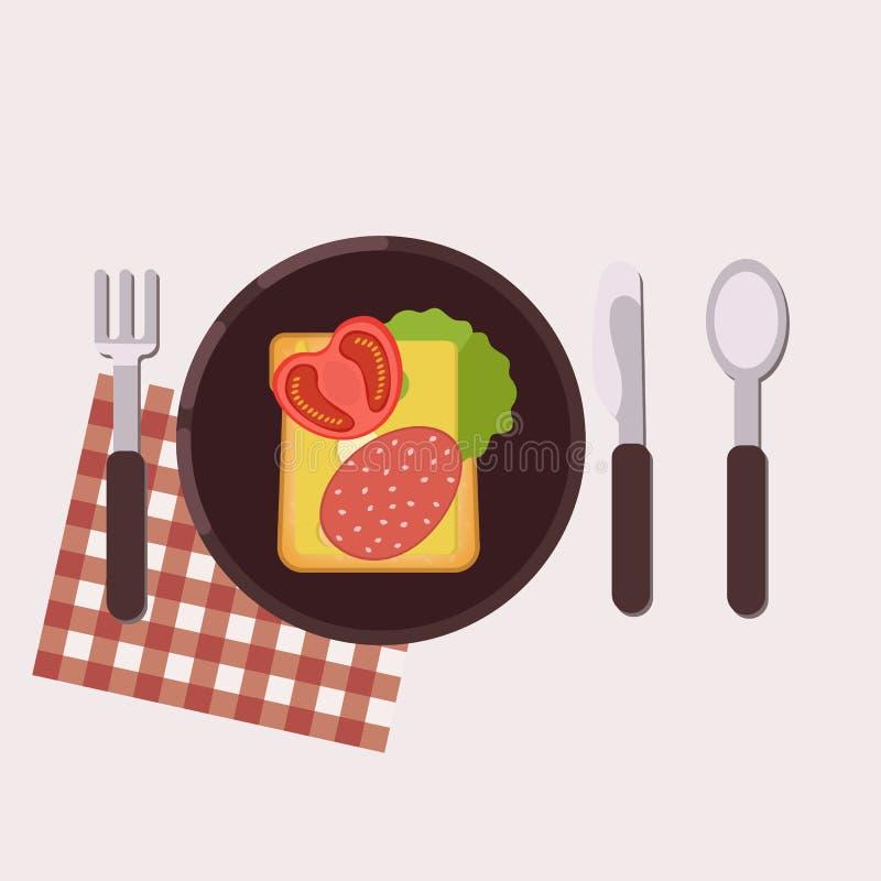 De toost met kaas, salami, boter, tomaat en groene salade diende op een plaat met vork, mes, lepel en servet Gezond voedsel royalty-vrije illustratie