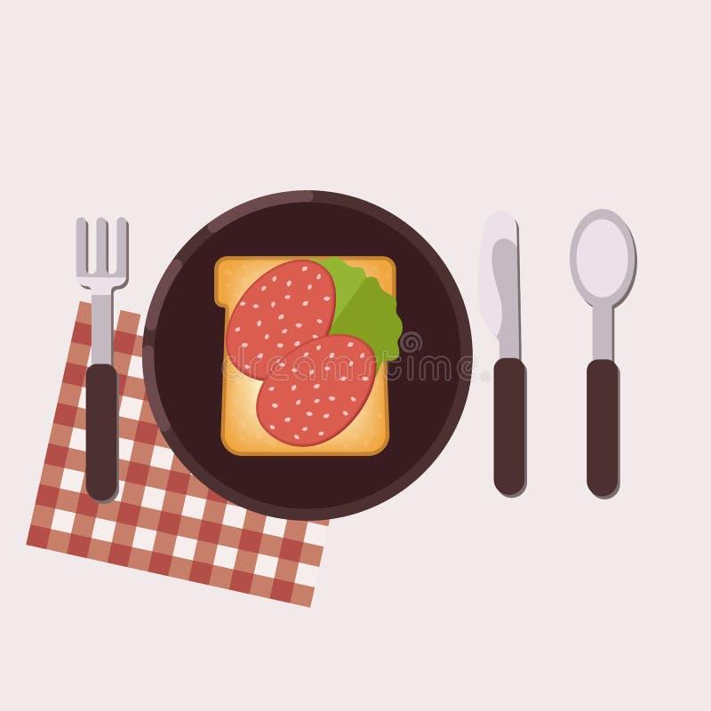 De toost met salami, boter en groene salade diende op een plaat met vork, mes, lepel en servet Gezond voedsel Vector illustratie royalty-vrije illustratie