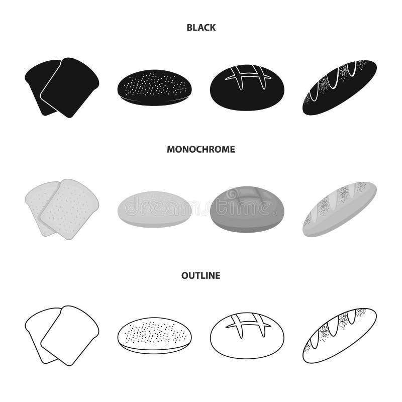 De toost, pizzavoorraad, ruffed brood, ronde rogge Pictogrammen van de brood de vastgestelde inzameling in het zwarte, zwart-wit, vector illustratie
