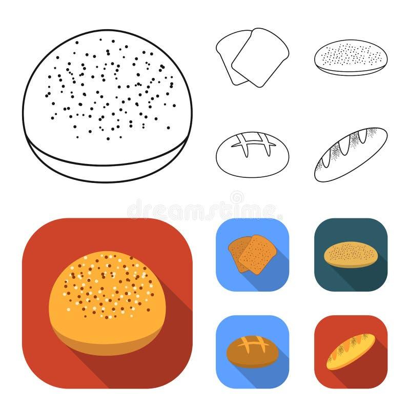 De toost, pizzavoorraad, ruffed brood, ronde rogge Pictogrammen van de brood de vastgestelde inzameling in overzicht, de vlakke v stock illustratie