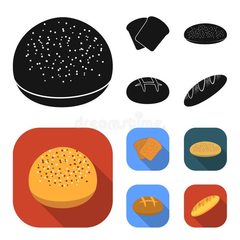 De toost, pizzavoorraad, ruffed brood, ronde rogge Pictogrammen van de brood de vastgestelde inzameling in de zwarte, vlakke voor royalty-vrije illustratie