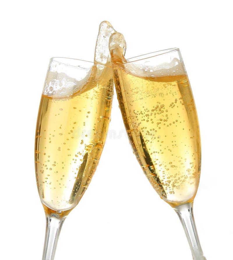 De toost van de viering met champagne stock fotografie
