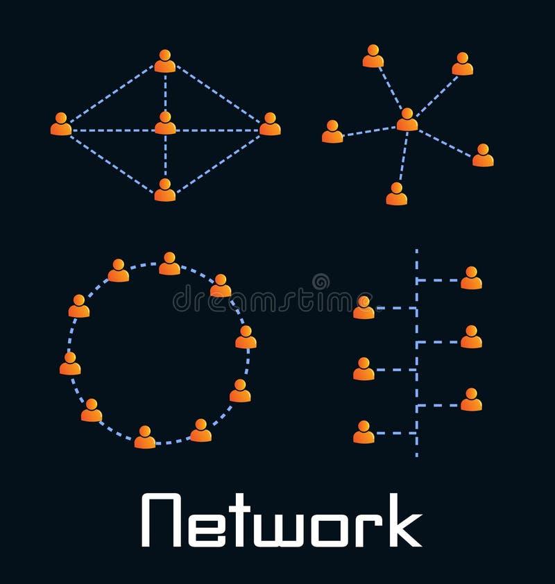 De Topologieën van het netwerk vector illustratie