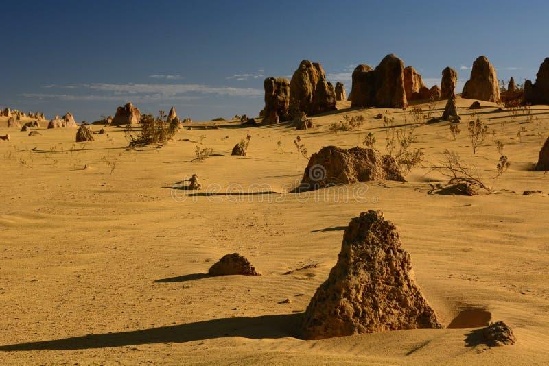 De toppen verlaten toneellandschap Nambung Nationaal Park cervantes Westelijk Australië australië stock foto