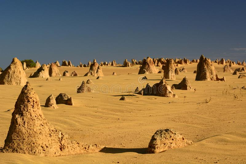 De toppen verlaten toneellandschap Nambung Nationaal Park cervantes Westelijk Australië australië stock fotografie