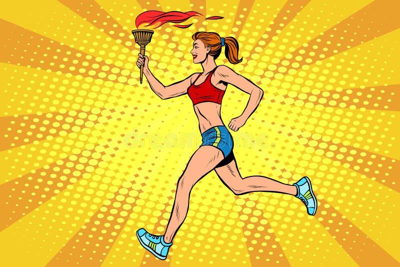 De torchbearersporten van de meisjesatleet steken de zomerspelen in brand stock illustratie