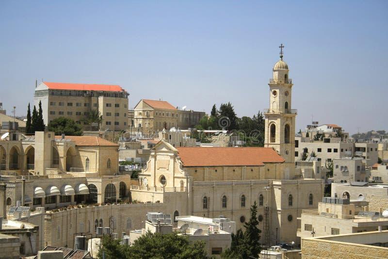 De toren bethlehem van de kerk stock afbeeldingen