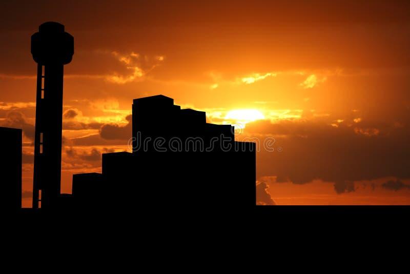 De Toren Dallas van de bijeenkomst bij zonsondergang royalty-vrije illustratie